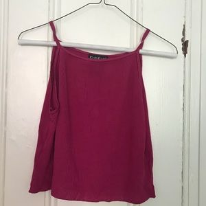 Silky ribbed cropped tank